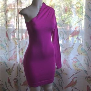 NWOT pink one sleeve dress